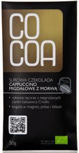 CZEKOLADA SUROWA CAPPUCCINO MIGDAŁOWE Z MORWĄ BIO 50 g - COCOA