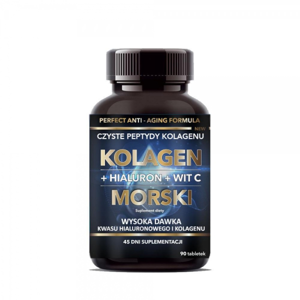 KOLAGEN MORSKI + HIALURON + WIT. C 45g (tabletki) - INTENSON