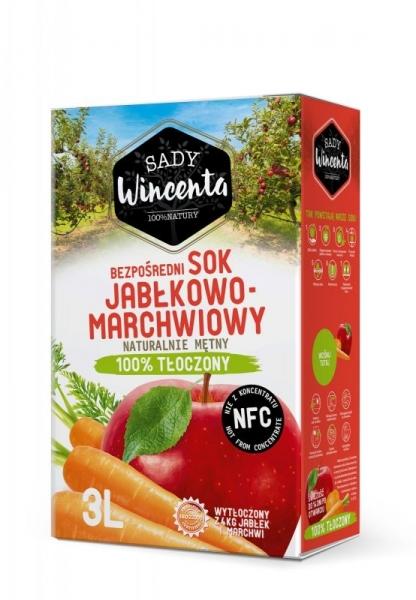 SOK JABŁKOWO-MARCHWIOWY 3 L - SADY WINCENTA